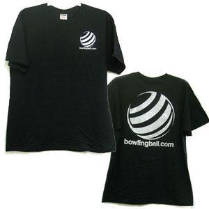 bowlingball.com Black T-Shirt w/ Metallic Silver Lettering Bowling Shirts