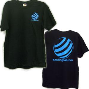 bowlingball.com Black T-Shirt with Light Blue Lettering Bowling Shirts